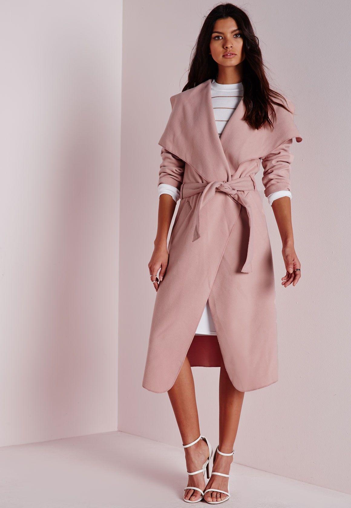 Pink Belted Coat - Coat Nj