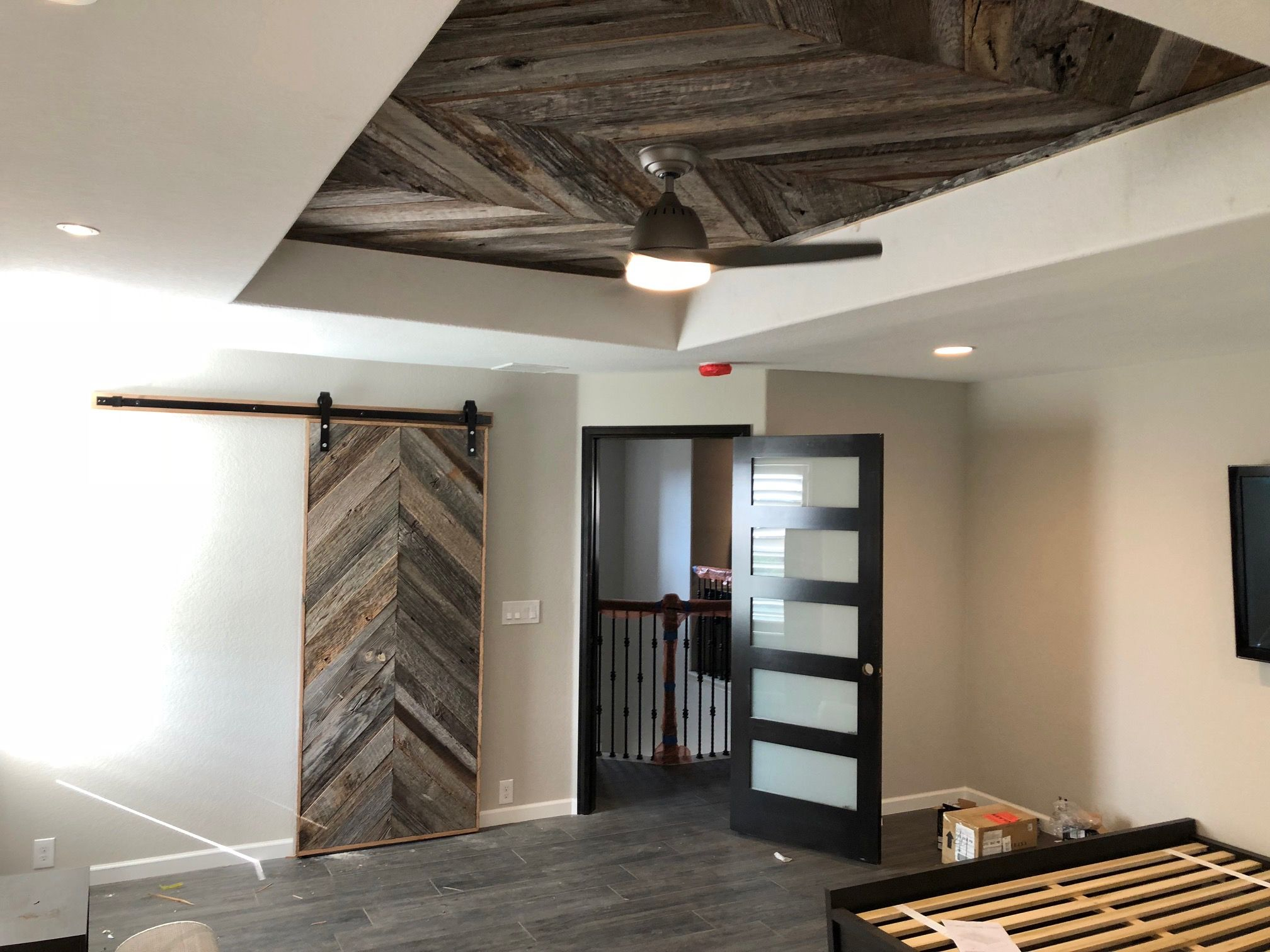 Thank You To Finished Basement Company For Sharing A Photo Of A Remodel They Are Working On For A Client Using Front Reclaimed Wood Hand Hewn Beams Barn Siding