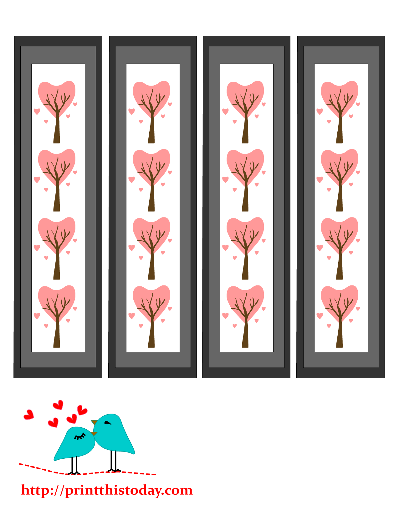 valentine bookmarks to color : Free Printable Bookmarks With Hearts