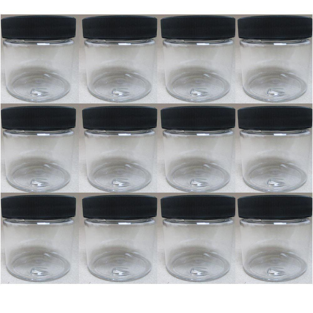 pet plastic oz empty clear containers cosmetic jar cap creams