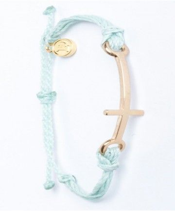 Gold Plated Cross Charm Bracelet in Aqua by Pura Vida available at coaststyles.com $20 free shipping
