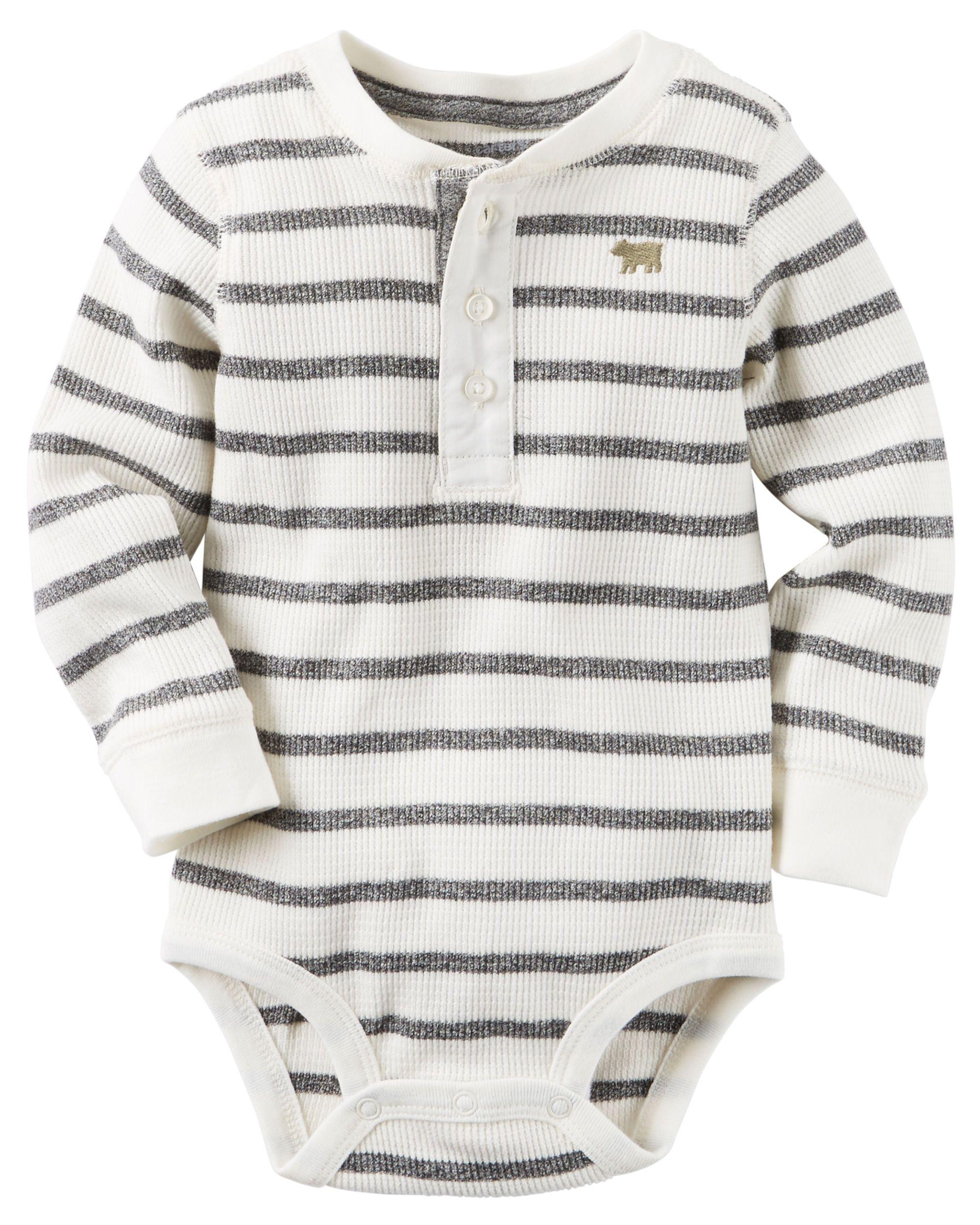 59abd7714f8a Baby Boy Striped Henley Bodysuit