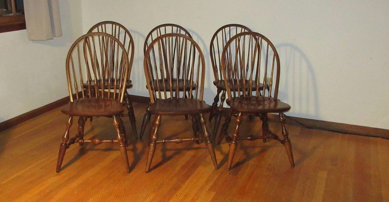 Set 6 Braced Fiddle back Windsor Chairs Walnut 5 Nichols