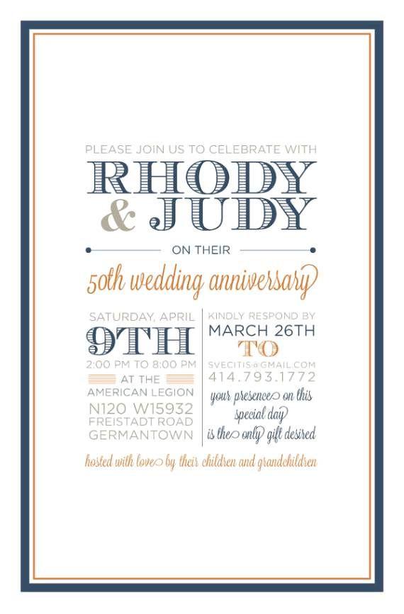 Casual Wedding Anniversary Invitation Wording 50th Anniversary