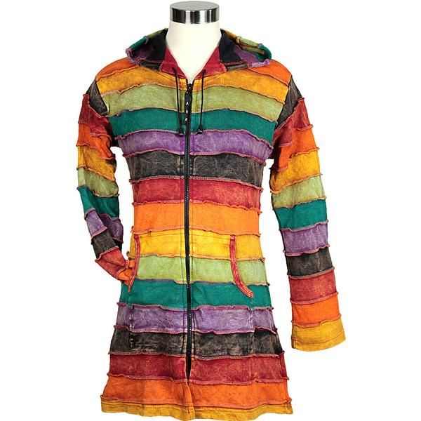 This colourful and fun hoody is well loved by women of all ages. Hand made of long patches that have been dyed and stone washed in all of the colours of the rai