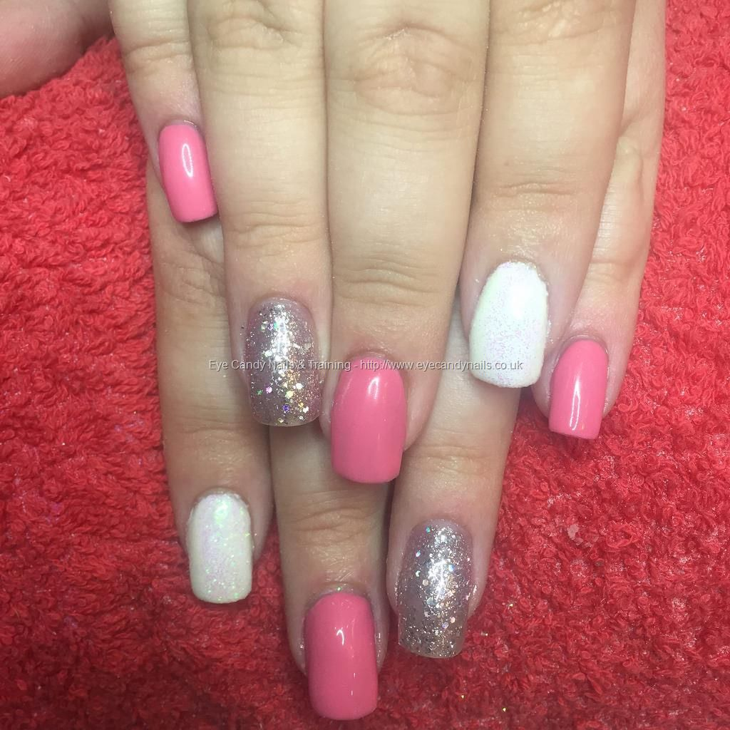 Acrylic extensions with pink and silver glitter gel polish and white ...