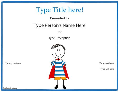 super hero Reading Blank Certificates - Page 3 of 26 Free