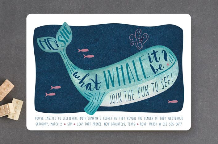 Gender Reveal Whale Baby Shower Invitations by Han... | Minted
