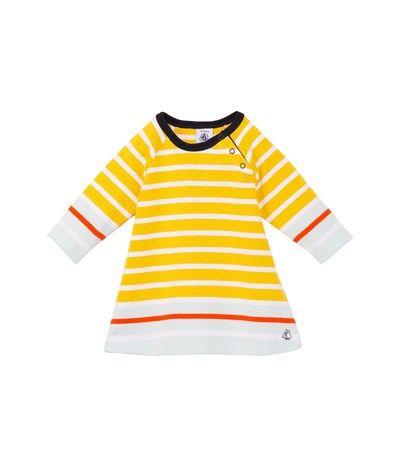 f0e4044b43dff Robe marinière bébé fille en jersey lourd à rayure tricolore placée jaune  Honey   blanc Ecume - Petit Bateau