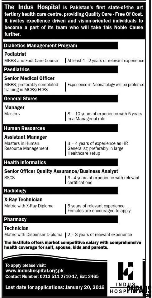 The Indus Hospital JOBS Opportunities - Jobs in Pakistan