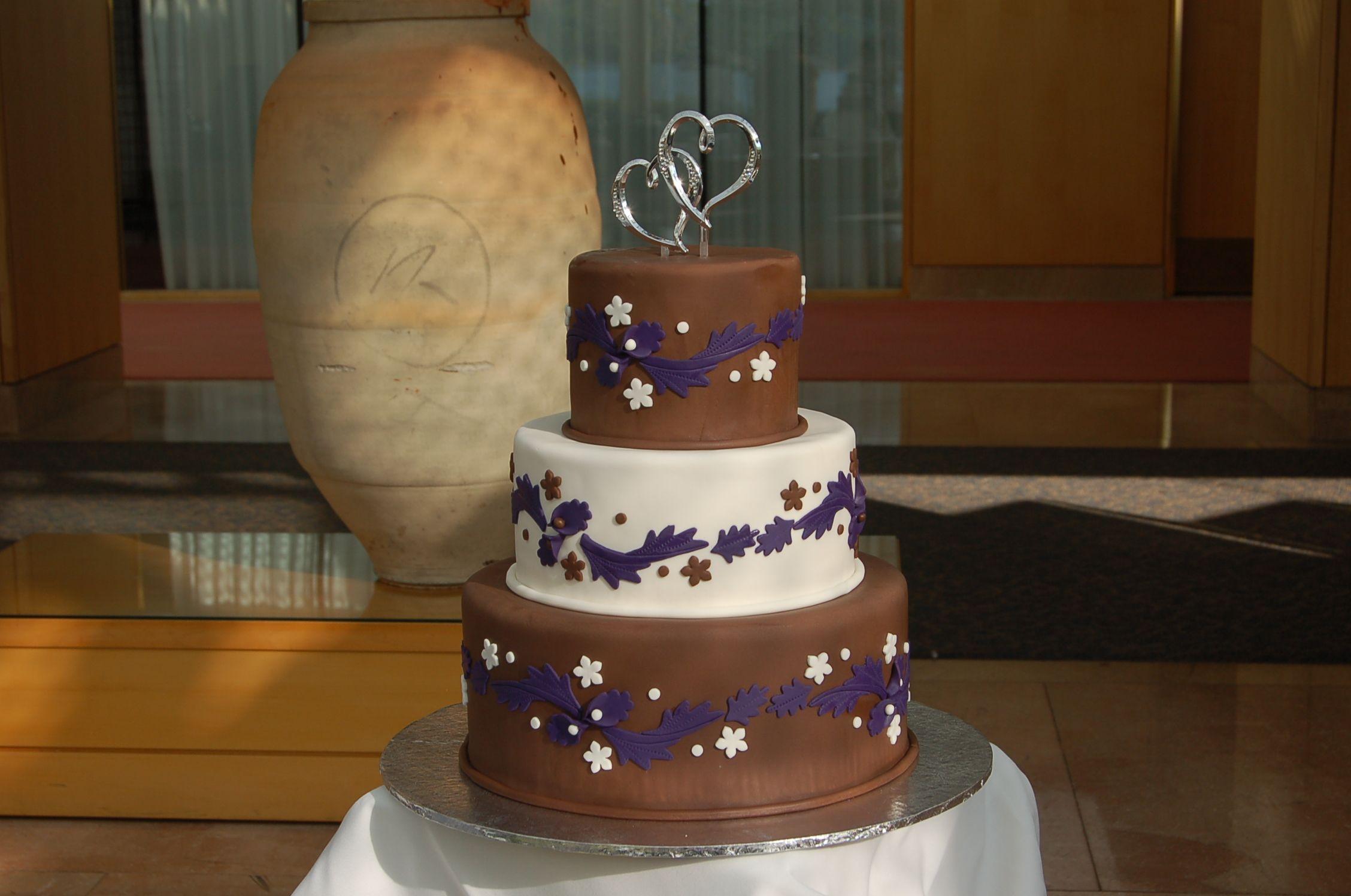Brown & purple three tier wedding cake