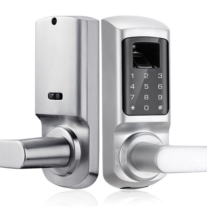 Fingerprint And Touchscreen Keyless Smart Lever Door Lock Satin Nickel In 2020 Electronic Deadbolt Keyless Locks Wooden Doors