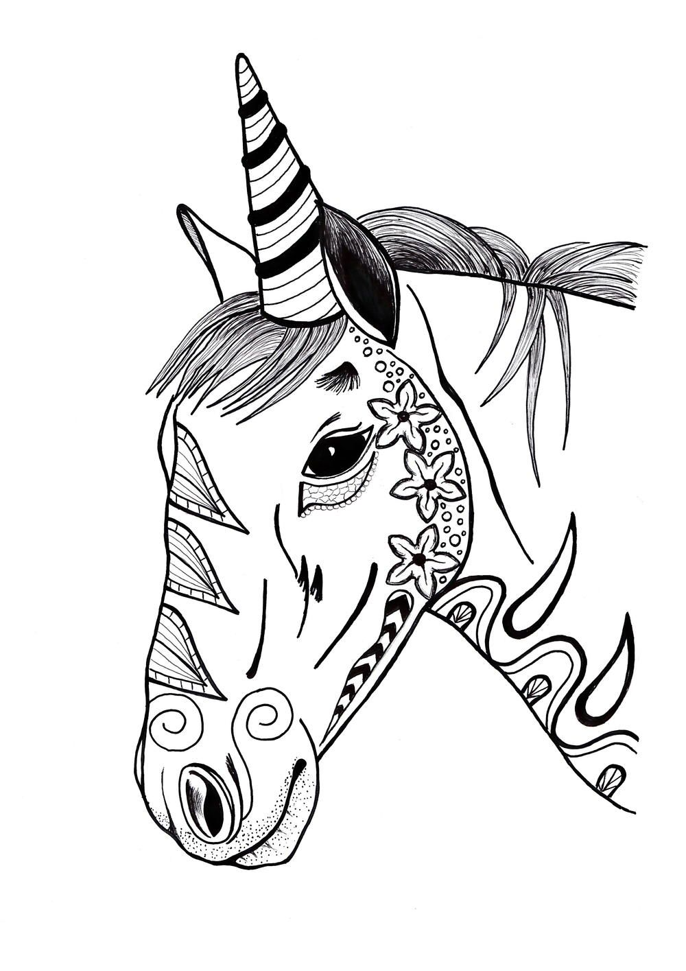 Colorful Unicorn Adult Coloring Page Unicorn coloring