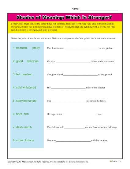 Shades Of Meaning Vocabulary Worksheet Which Is Stronger Shades Of Meaning Vocabulary Words Vocabulary Worksheets Sixth grade vocabulary worksheets