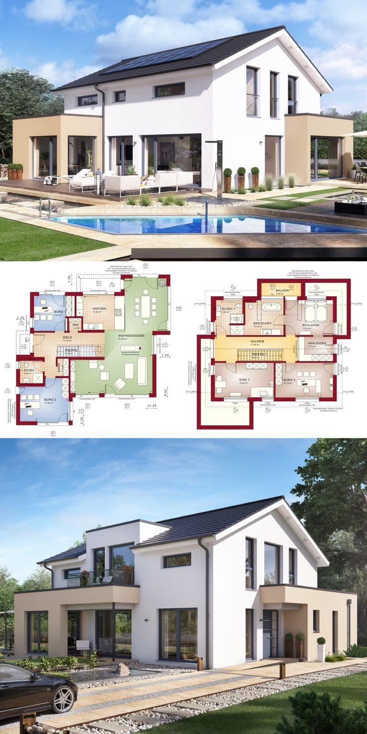 Einfamilienhaus Architektur modern mit Satteldach Büro  Galerie  Fertighaus bauen Grundriss Design Haus ConceptM 155 Bien Zenker Hausbau Ideen   Detached house archi...