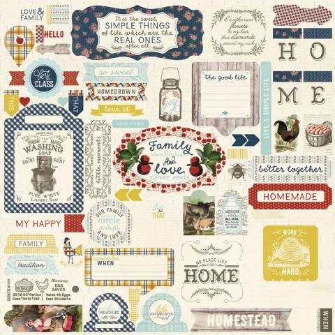 HOMESTEAD Collection 12x12 Scrapbooking Paper Crafting Kit Authentique New