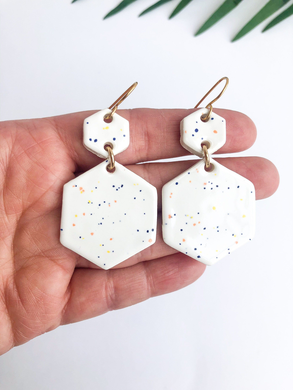 Handmade Ceramic Earrings  Gold and White Earrings
