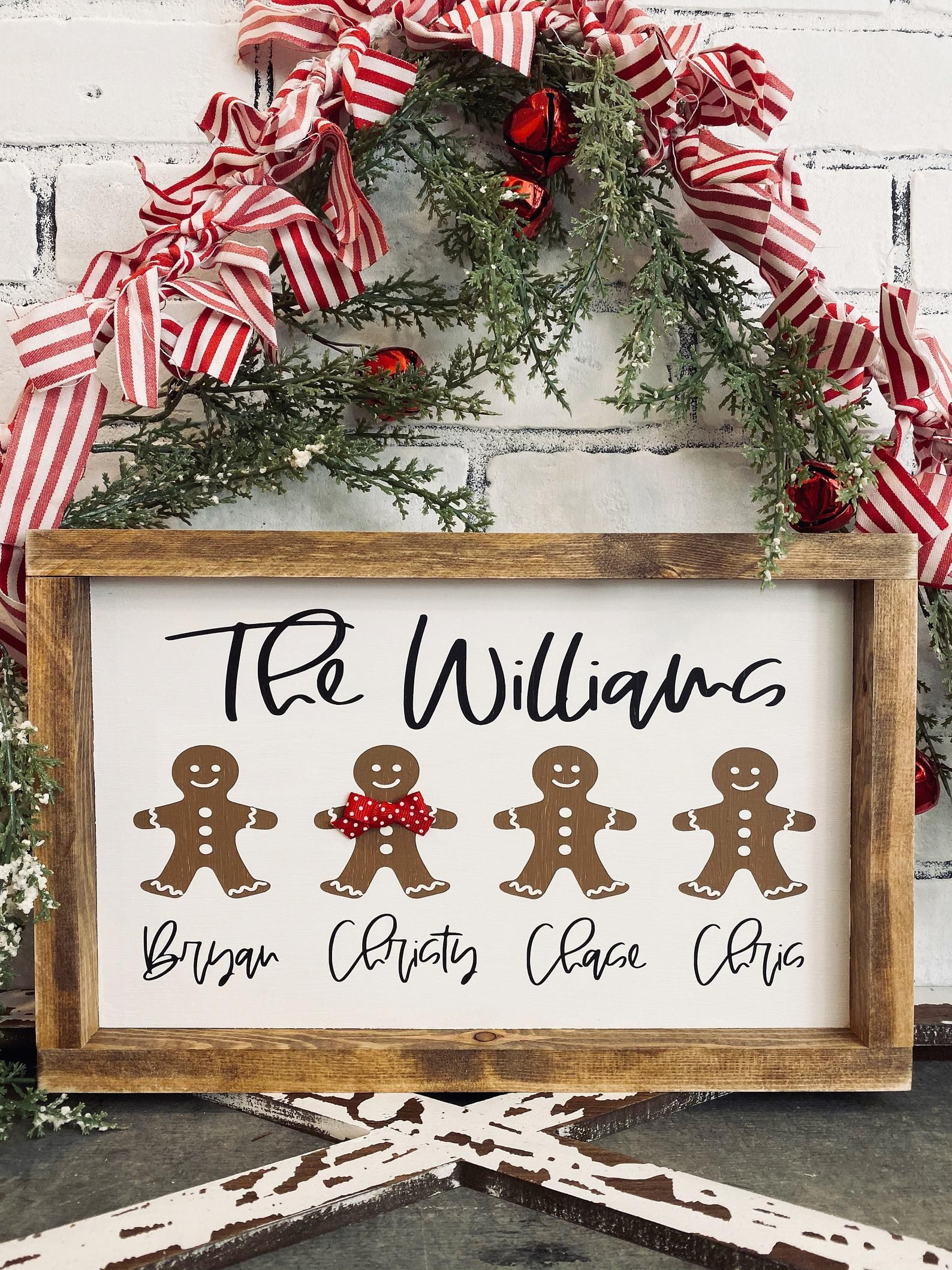 Gingerbread Family Sign Christmas Sign Personalized Sign Gift Family Sign In 2020 Christmas Signs Diy Christmas Signs Wood Family Christmas Ornaments
