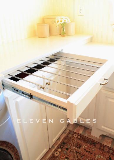 DIY sliding laundry rack, laundry room