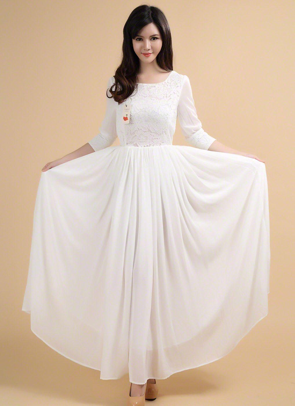 Vintage style white maxi length chiffon wedding dress with lace