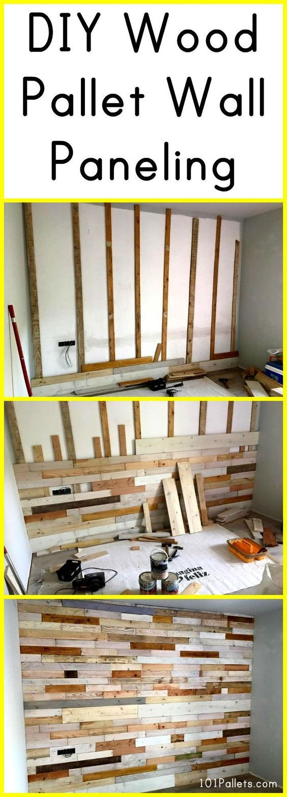 Diy wood pallet wall paneling 101 pallets pinteres How to cover old wood paneling