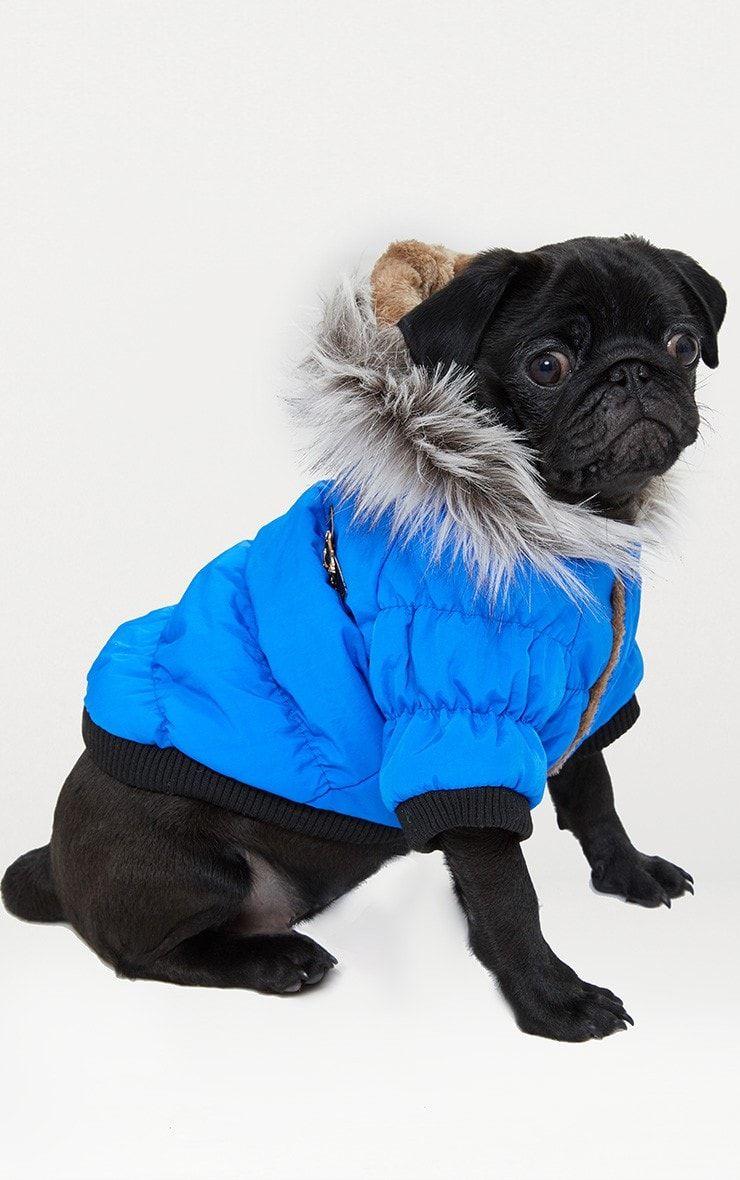 Blue Quilted Faux Fur Hood Doggy Coat Faux Fur Blue Winter Hats