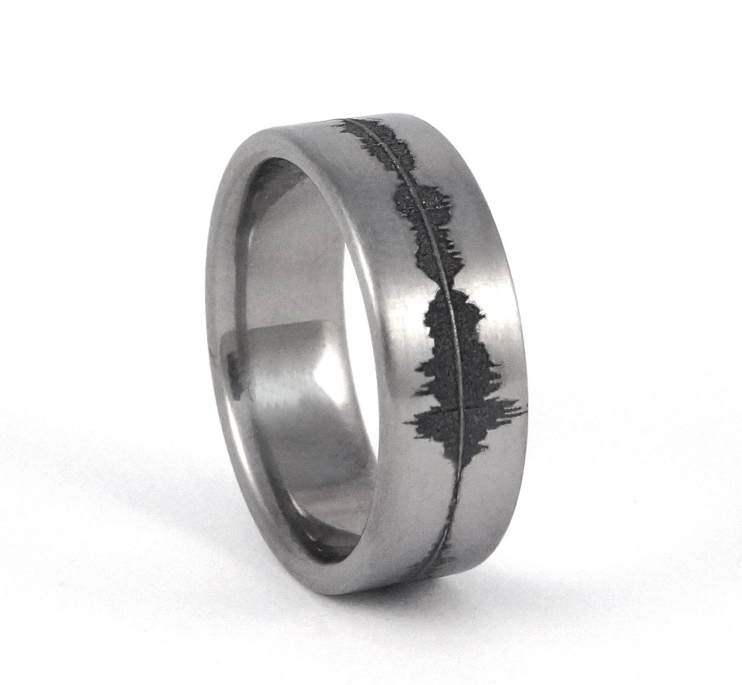 Custom Anium Soundwave Ring Geek Wedding Band For Him Personalized Rings Unique Sound Wave Geekery Gift Nerd