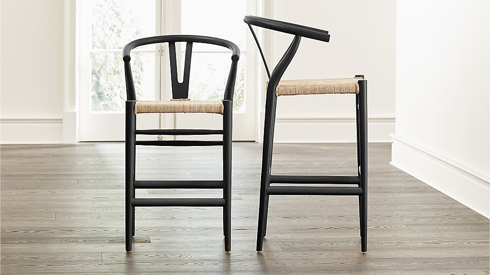 Crescent Black Rush Seat Bar Stools Crate And Barrel Bar Stools White Bar Stools Iron Bar Stools Rush seat counter stool