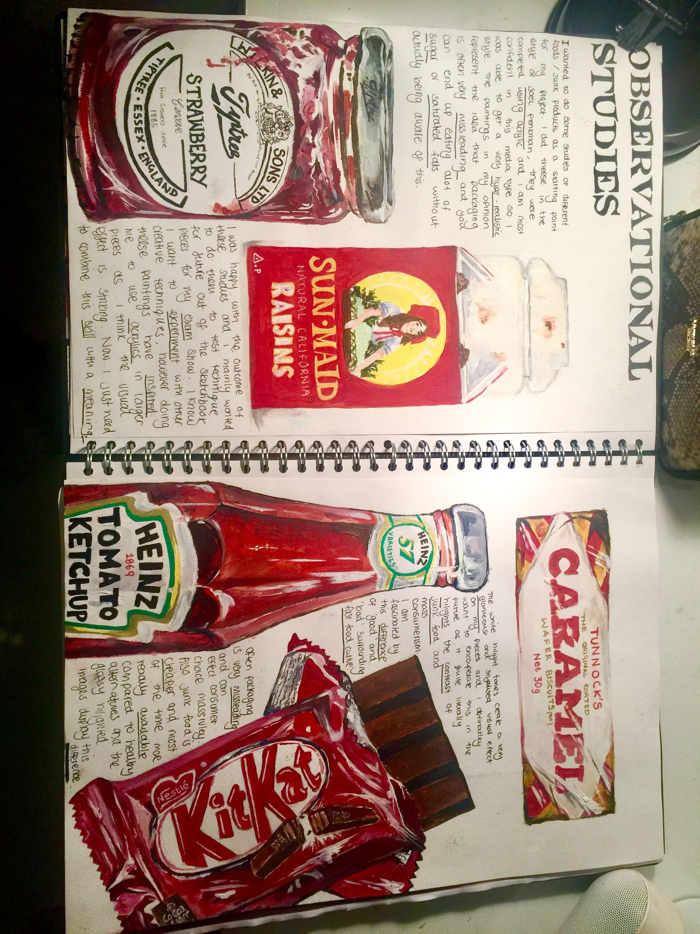 A level art / gcse art food project sketchbook layout Joel penkman packaging and mass consumerism A*