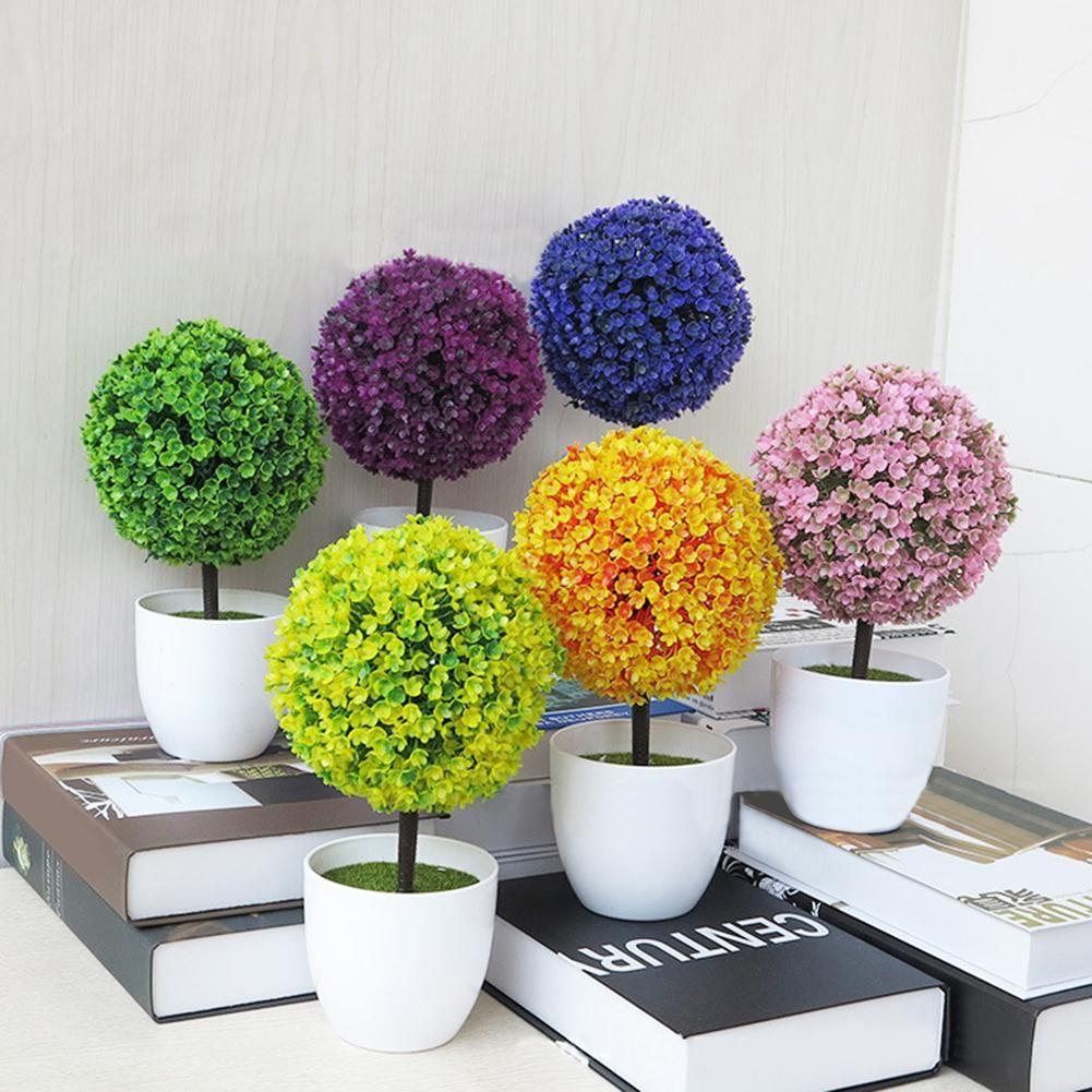 Outdoor Home Decor Artificial Topiary Tree Potted Ball Plants Bonsai Garden