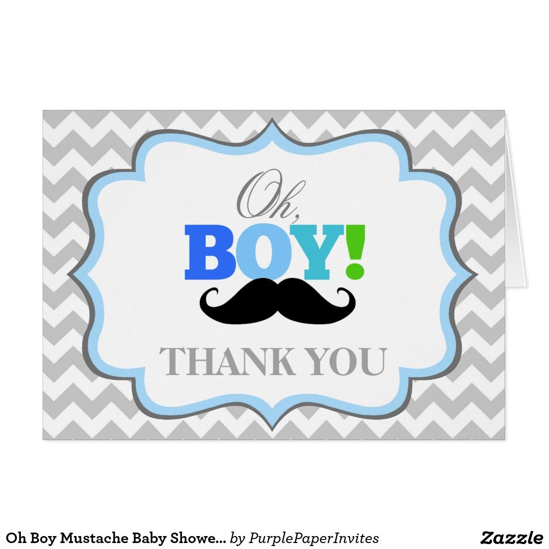 Oh Boy Mustache Baby Shower Thank You Card Baby Shower Thank You