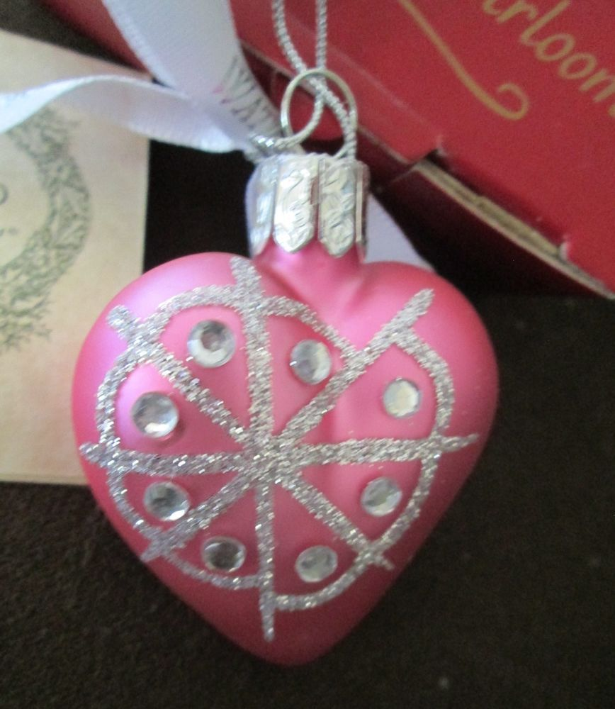Glass heart christmas ornaments - Waterford Holiday Heirlooms Blown Glass Pink Snowflake Heart Christmas Ornament
