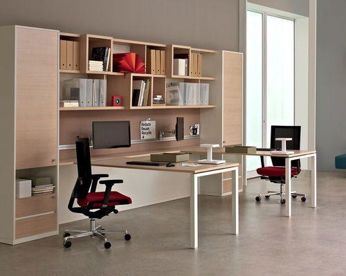 Bureau pour open space contemporain en bois avec rangement