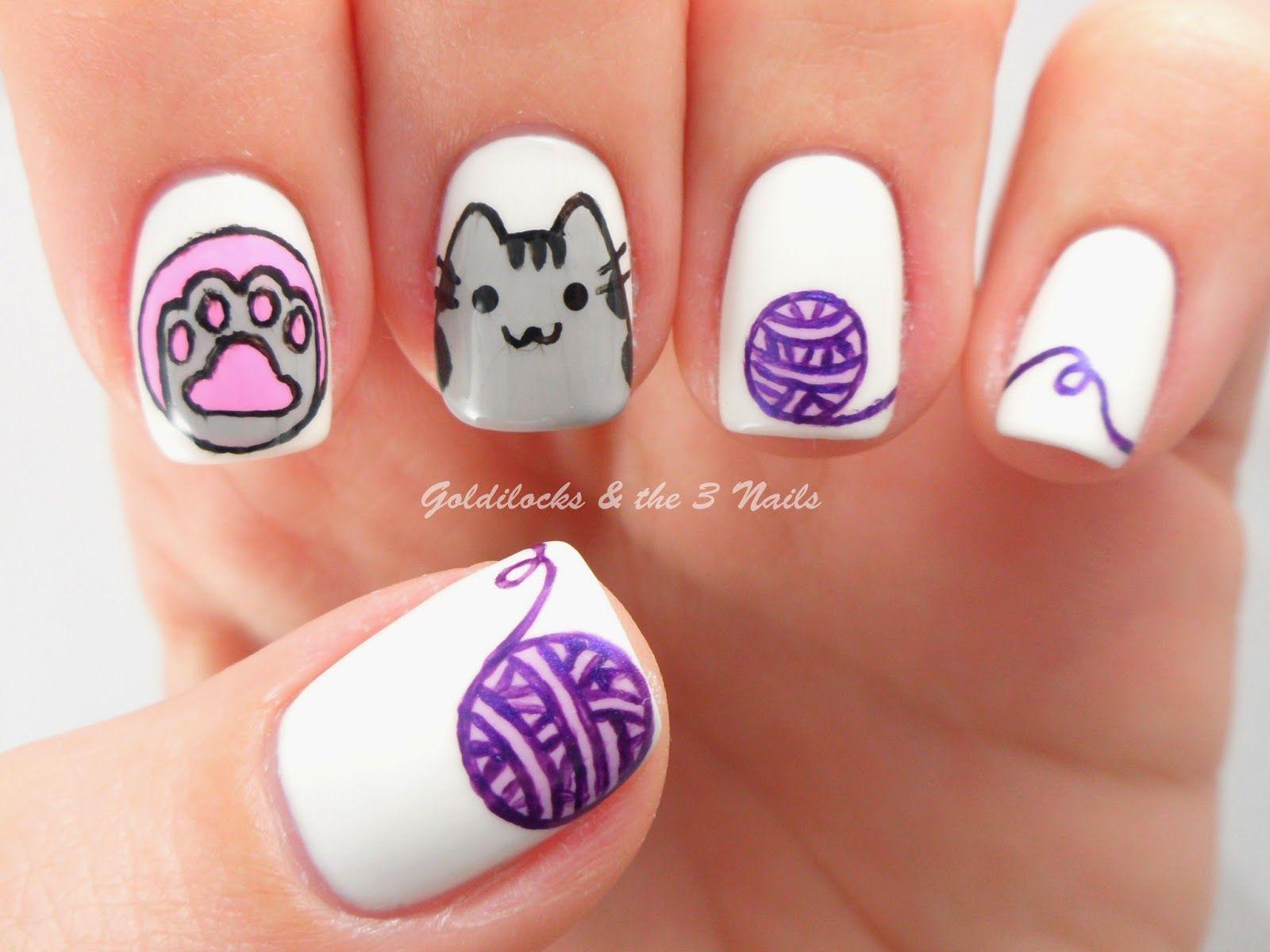 goldilocks u0026 the three nails pusheen cat nail art nail art