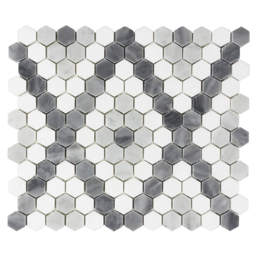 Mto0526 Modern 1x1 Hexagon X Pattern White Blue Gray Stone Mosaic Tile In 2020 Grey Stone Mosaic Hexagonal Mosaic Stone Mosaic Tile