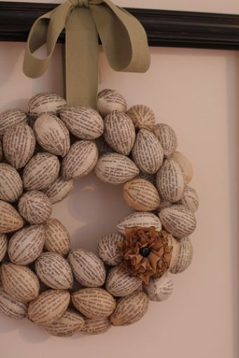 Book Page Egg Wreath