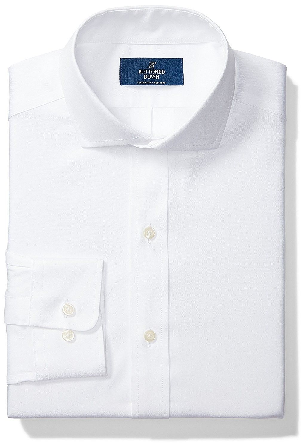 Mens Classic Fit Cutaway Collar Solid Non Iron Dress Shirt White