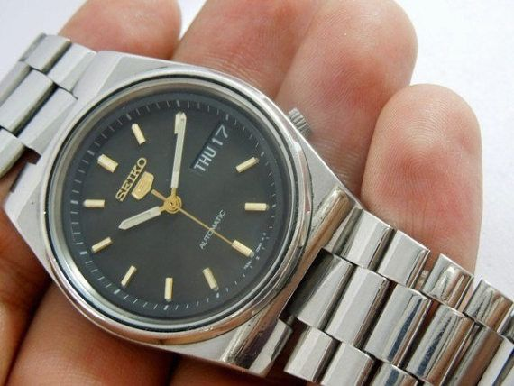 812dc3b48 seiko 5 watch automatic men day date 21 Jewels clean black | Watches ...