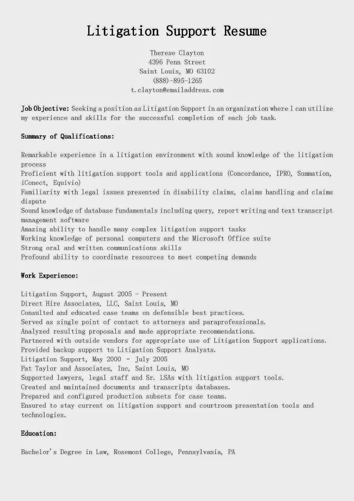Litigation Support Resume Sample | Places to Visit | Pinterest ...
