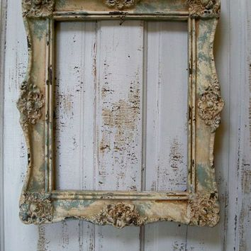 Weathered ornate picture frame large shabby chic cottage wall home ...