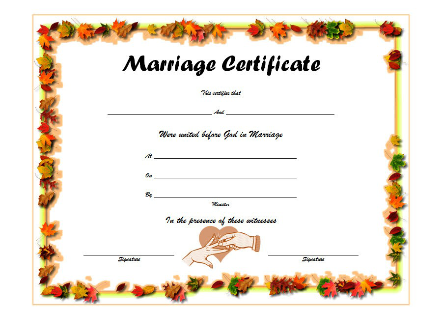 Marriage Certificate Template Word FREE Printable 4 in
