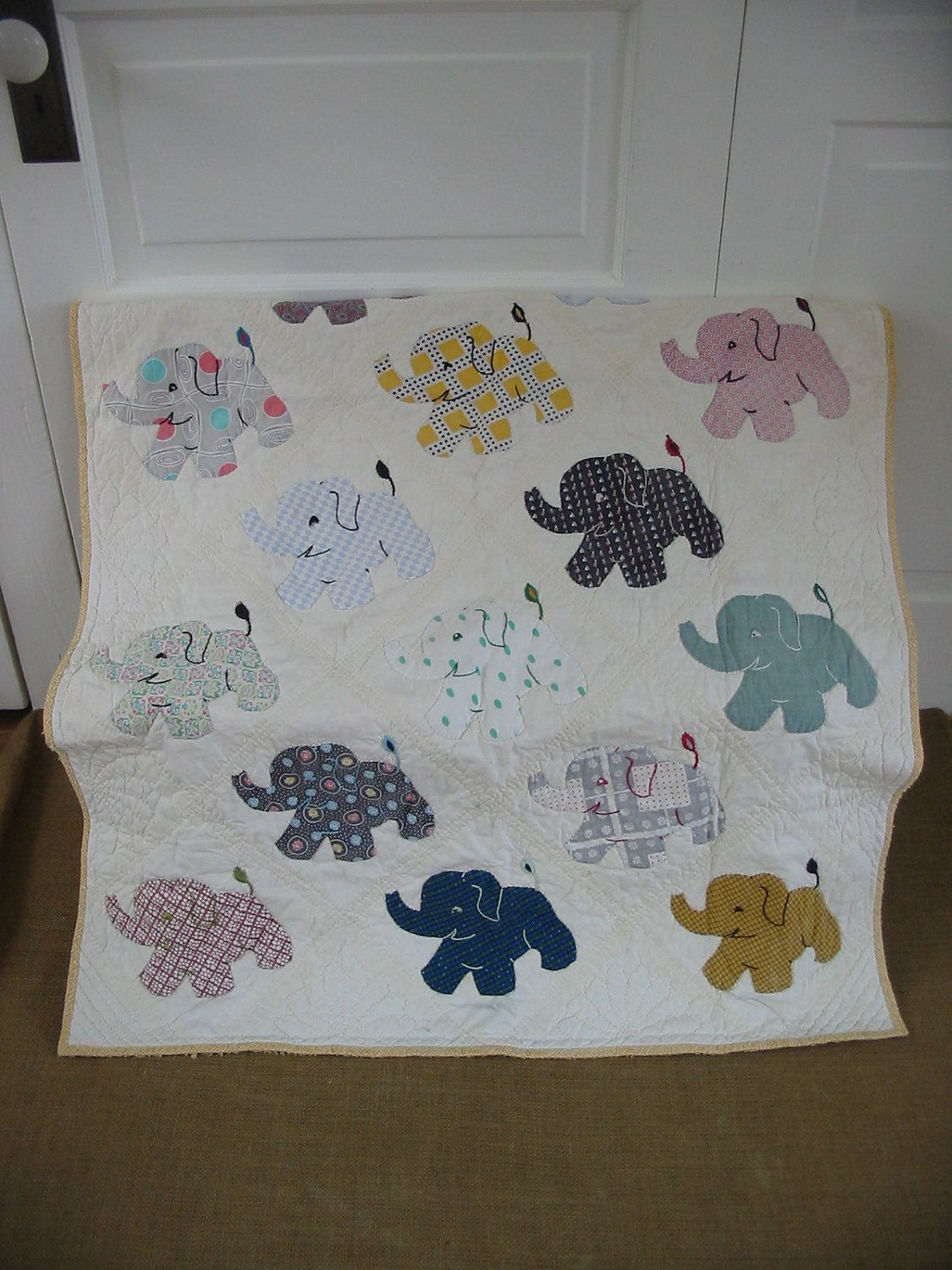 Vintage Baby Blanket Elephant Children Boy Girl Quilt