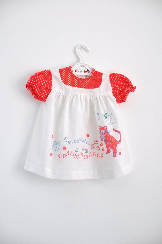 Vintage Baby Dress Nursery Rhyme Print By Willowsroom On Etsy 7 00