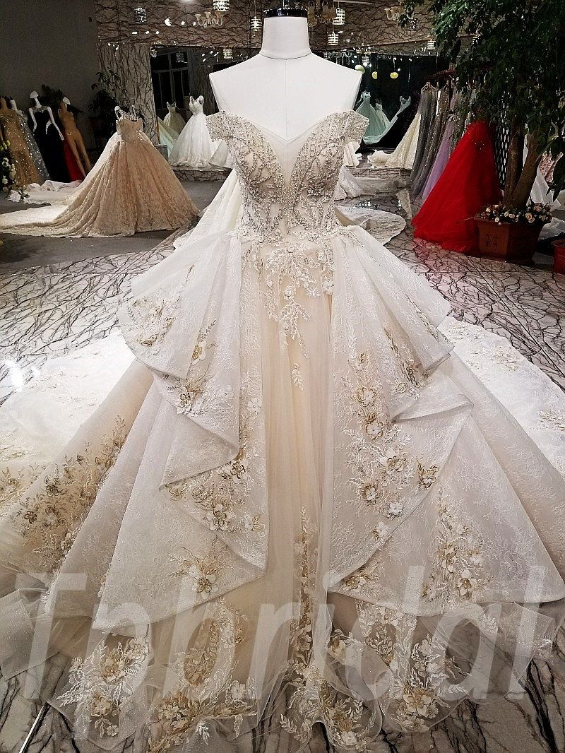 Long Train Wedding Dress Lace Hand Made Bridal Gown in