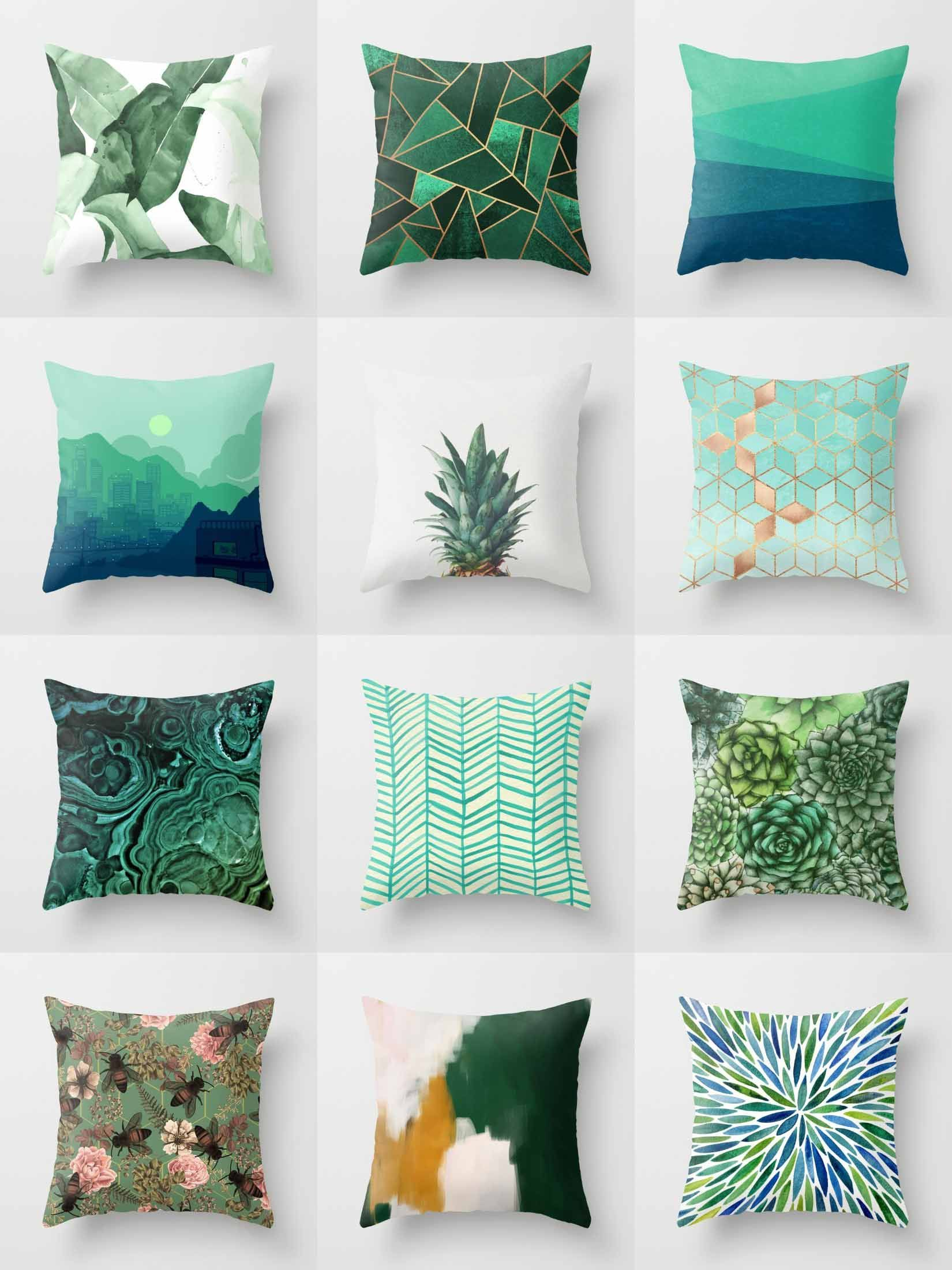 and glitter product green aqua ocean pillow throw gold pillows dahlia in by