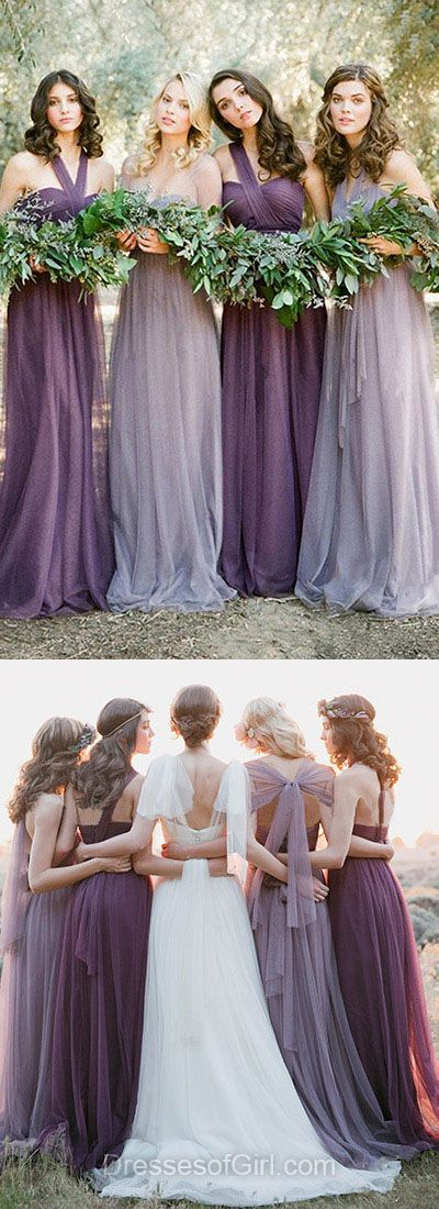 Popular Purple Bridesmaid Dresses, Halter Bridesmaid Dress, Tulle Bridesmaid Gowns, Long Bridesmaid Dresses, Modest Bridesmaid Dresses