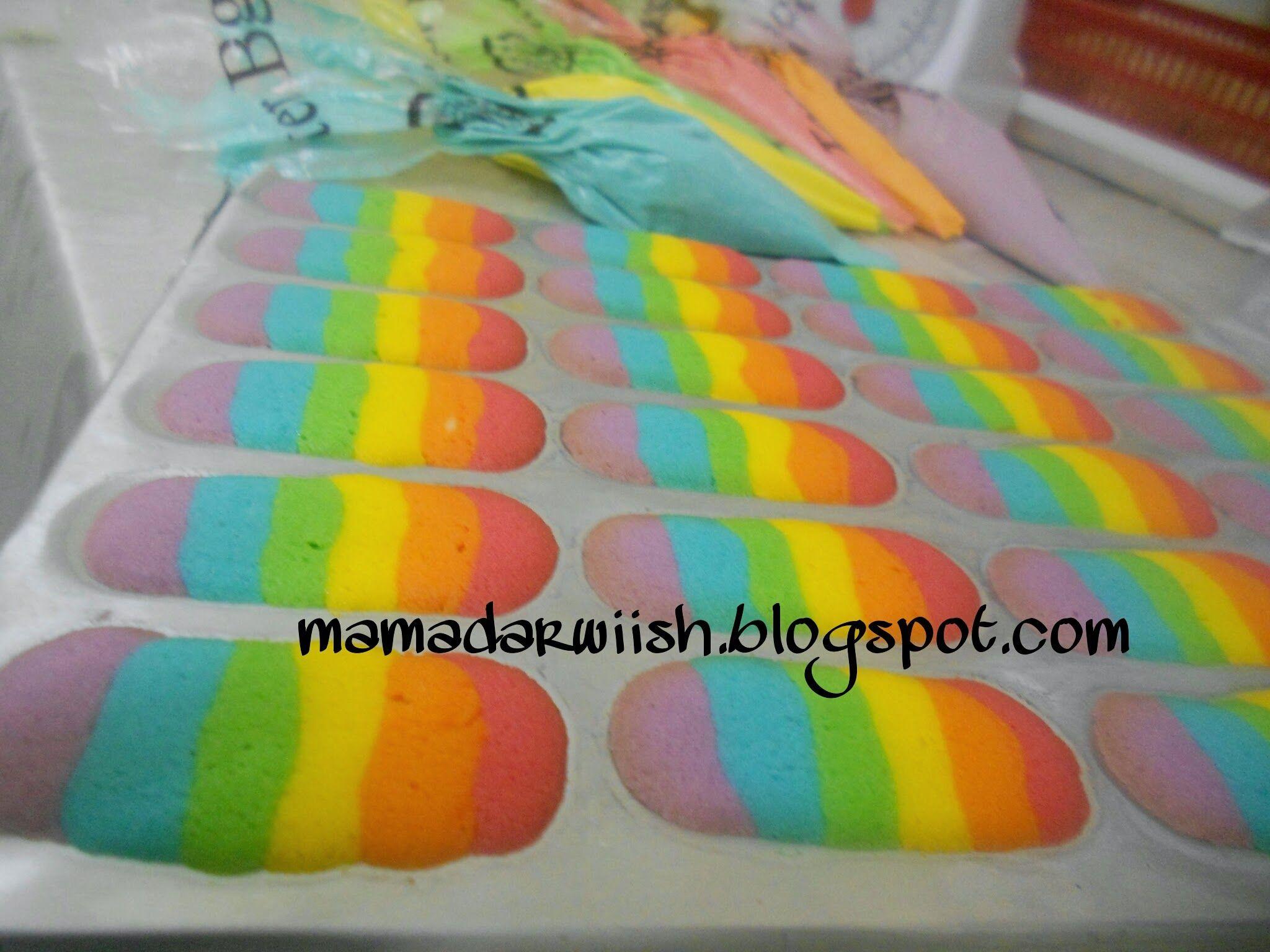 Resepi Lidah Kucing Rainbow Baking Rainbow Slippers