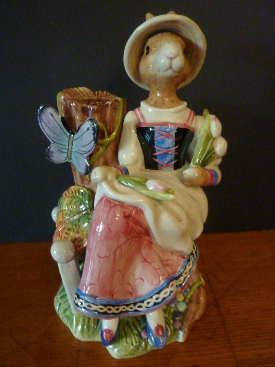 vintage fitz and floyd old world rabbits lady bunny rabbit single