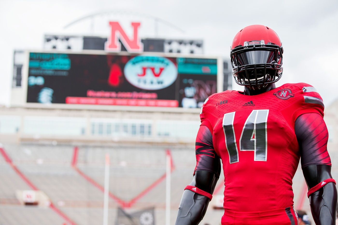 The 2014 Husker alternate uniform is on display during