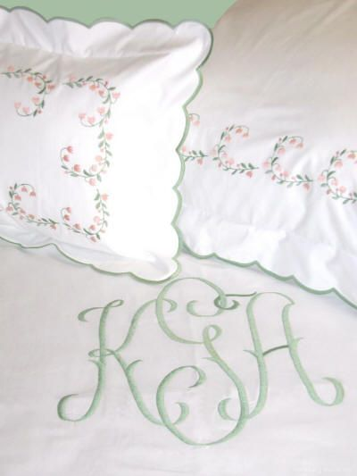 Haley Couture Monogram on LilliBelle Embroidered Bed Linens. Optional scallop border. Monogram duvet covers, monogram shams, sheets and coverlets. http://bellalino.com/Monogram%20%20Bed%20Linens/lilli%20belle%20bed%20linens.htm